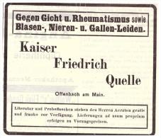 Original Werbung - 1907 , Kaiser Friedrich Quelle In Offenbach A.M., Kur , Arzt , Krankenhaus !! - Werbung