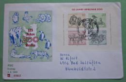 Brief Marken Berlin Zoo 1969 FDC Ersttag Block 2 Gelaufen - Briefe U. Dokumente