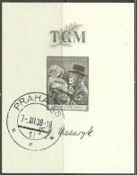 TSCHECHOSLOWAKEI 1938 Block 3 Masaryk O - Gebraucht