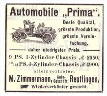 Original Werbung - 1907 - Automobile PRIMA , M. Zimmermann In Reutlingen , Automobile !!! - KFZ