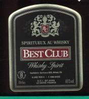 Etiquette De Spiritueux Au  Whisky  -  Best Club  -   UEI  Le Havre  (76) - Whisky