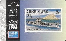 Nº37/a TARJETA DE GIBRALTAR DE UN SELLO CON UN BARCO HSM VICTORIUS 512L (STAMP-SHIP)  (RARA) - Sellos & Monedas