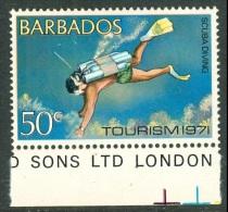 BARBADOS 1971 Tourism, Scuba Diving 50c, Wmk Inverted, XF MNH