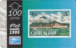 Nº39 TARJETA DE GIBRALTAR DE UN SELLO CON UN BARCO FLL SAVORGNAN DE BRAZZA (STAMP-SHIP) - Sellos & Monedas