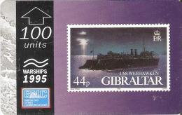 Nº38 TARJETA DE GIBRALTAR DE UN SELLO CON UN BARCO USS WEEKHAWKEN (STAMP-SHIP) - Sellos & Monedas