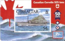 Nº 48 TARJETA DE GIBRALTAR DE UN SELLO CON UN BARCO (SHIP-STAMP)  NUEVO-MINT - Sellos & Monedas