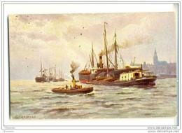 Mooie Kaart In Pastelkleur Van  Schepen Voor Anker, Loodsboot Naar Zimmerman - Koopvaardij