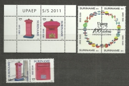 SURINAME 2011 UPAEP MAILBOX. 8 STAMPS MNH** IN PERFECT CONDITION.