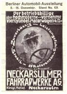 Original Werbung - 1907 - NSU Automobil - Ausstellung Berlin , Motorrad , Neckarsulm , Moto , Motorräder !!! - KFZ