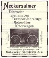 Original Werbung - 1907 - NSU , Fahrrad , Motorrad , Neckarsulm , Moto , Motorräder , Bicycle !!! - Transport