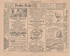 INDE T�l�gramme publicitaire  -nombreuses pubs dont lampe � k�ros�ne, tabac, th�, cinema, etc 1928