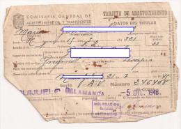 Doc Antiguo, Tarjeta De Abastecimiento, Salamanca 5 Diciembre 1948 - Documentos Antiguos