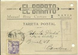 TARJETA COMERCIAL 1942 CENSURA   NAVIA-ASTURIAS - Marcas De Censura Nacional