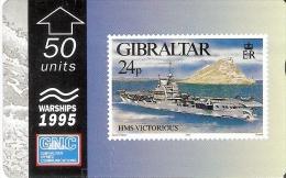 Nº37/a TARJETA DE GIBRALTAR DE UN SELLO CON UN BARCO HSM VICTORIUS 512L (STAMP-SHIP)  (RARA) - Barcos