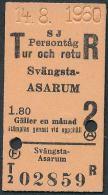 QY303 SWEDEN 2nd Cl Svängsta - Asarum 14.8.1960 - Railway