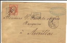 Lettre  _ 80c - chiffre1053 cachet Clermont - Ferrant _Aurillac 2 f�vrier 1866