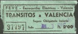 QY487 Railway Ticket SPAIN FEVE Transitos - Valencia - Railway