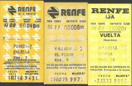 QY488 Railway Tickets SPAIN RENFE 3 Tickets Pineda Valladolid Caldetas - Railway