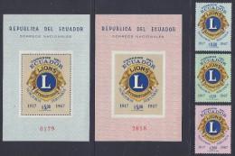ECUADOR LIONS INTERNATIONAL SET Of 3v + 2 S/S PERF IMPERF MNH 1967 - Rotary Club