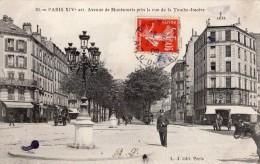 PARIS AVENUE DE MONTSOURIS PRES DE LA RUE DE LA TOMBE-ISSOIRE ANIMEE 1909 - District 14