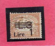 SAN MARINO 1936 - 1939 SEGNATASSE DUE TASSE TAXE SOPRASTAMPATO SURCHARGED LIRE 1 SU 3 TIMBRATO USED - Portomarken