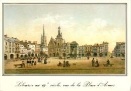 LIBOURNE : Vue De La Place D'Armes Avec L'Hôtel De Ville Et L'Eglise (Vieilles Gravures Du 18e Siècle) - Libourne