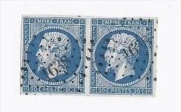 PAIRE Timbre Francais  N° 14 FRANCE Oblitéré  Losange Cachet 1638 Langon Pointillés NAPOLEON III 20c Bleu Assez Foncé - France