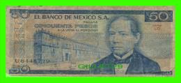 BILLETS DE MEXICO - CINCUENTA PESOS - No U8448729 SERIE LD, 1981 - - Mexique