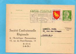 Carte-commerciale-Sté Confra   Régionale  Entier Marianne De Muller12frs Vert-a Voyagé En 1957+flamme - Entiers Postaux