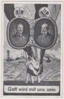 Kaiser Wilhelm II.,Kaiser Franz Josef, Kaiserliche Marine, Feld-Postkarte, Lüttich Hauptbahnhof - War 1914-18