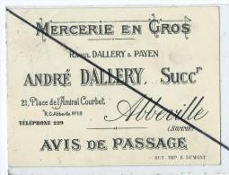 Avis De Passage - Mercerie En Gros - Abbeville - Commercio