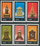 BL3-531 DDR, EAST GERMANY 1975 MI 2055-2060 HISTORIC CLOCKS, KLOKKEN, OROLOGIO, PENDULE. MNH, POSTFRIS, NEUF** - Horloges