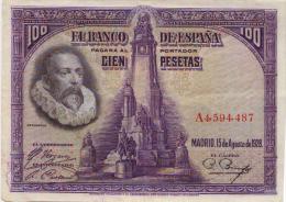 BILLETE 100 PESETAS 1928 - [ 1] …-1931 : Primeros Billetes (Banco De España)