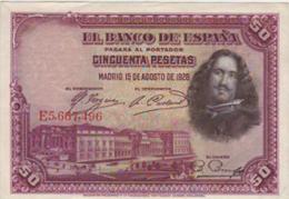 BILLETE 50 PESETAS 1928-VELAZQUEZ - [ 1] …-1931 : Primeros Billetes (Banco De España)