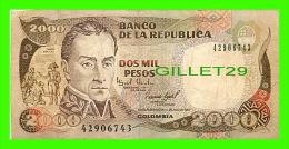 BILLETS DE LA COLOMBIE - BANCO DE LA REPUBLICA COLOMBIA - DOS MIL PESOS - No 42906743, 1983 - Colombie