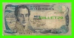 BILLETS DE LA COLOMBIE - BANCO DE LA REPUBLICA COLOMBIA -  MIL PESOS - No 20361582, 1994 - - Colombie