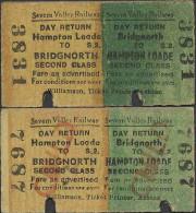 AR8 ENGLAND Severn Valley Railway 2 Tickets 1978? Bridgnorth - Hampton Loade - Railway