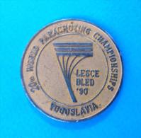 20th WORLD PARACHUTING CHAMPIONSHIPS 1990.Bled - Commemorative Medal * Parachutisme Parachute Paracaidismo Paracadutismo - Parachutting