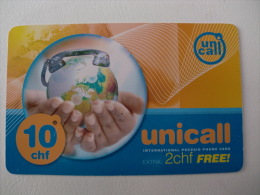 Phonecard/Telecarte Unicall 10 chf extra 2chf free