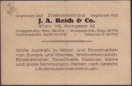 AUSTRIA - BRIEFMARKENHAUS  J.A. REICH  corespodency