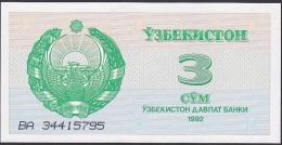 Uzbekistan, 3 Sum, P.62 (1992) UNC - Uzbekistan