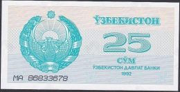Uzbekistan, 25 Sum, P.65 (1992) UNC - Uzbekistan