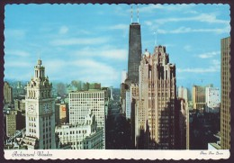 AERIAL VIEW OF NORTH MICHIGAN AVENUE, WRIGLEY BUILDING, TRIBUNE TOWER. CHICAGO, ILLINOIS, USA (Unused Postcard, 1970´s) - Chicago