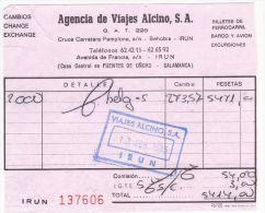 RECEPISSE CHANGE IRUN ESPAGNE - 1985 - Espagne