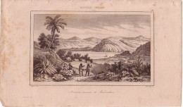 NOUVELLE-ZELANDE - MAISON KOROBORO - GRAVURE VOYAGE RIENZI 1847 - FORMAT DOCUMENT 13.5x22cm - TACHES. - Documentos Antiguos