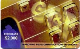 USED PRE-PAID PHONE CARD GUYANA  2000$ RARE - Guyane