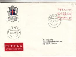 Islande - Lettre De 1985 - Vignettes D´affranchissement - Oblitération Reykjavik - Valeur 10 Euros - Vignettes D'affranchissement (Frama)