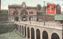 59 LILLE LA PORTE DE GAND ATTELAGE CIRCULEE 1912 - Lille