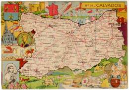 CPSm Contour Géographique, Calvados ( Vire, Caen, Bayeux, ... Andouille, Livarot, ...) - Francia