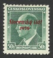 Slovakia, 50 H. 1939, Sc # 8, Mi # 9, MH - Unused Stamps